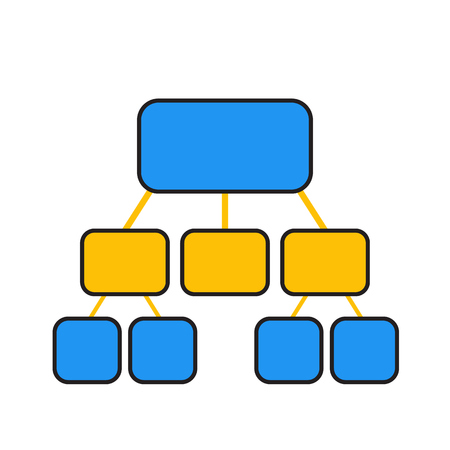 biz: flowchart template in blue and yellow over white Illustration