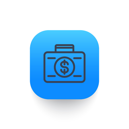 investor: investing icon, banking, loan, investor, suitcase with money linear pictogram