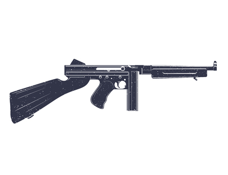 american submachine gun over white, grunge texture can be easily removed Illustration