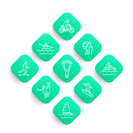 extreme outdoor activities line icons set, rafting, sailing, motocross, skydiving, alpinism, skateboarding