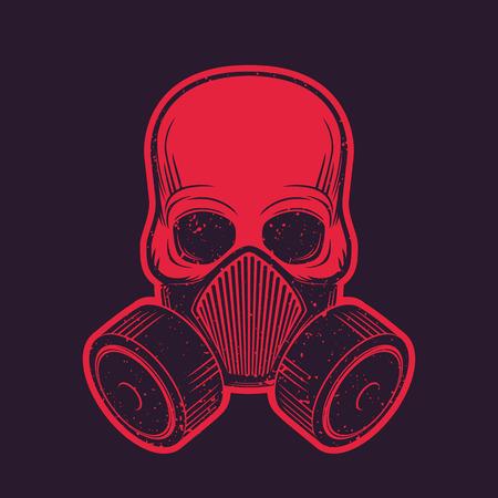 skull with respirator, gas mask, t-shirt design