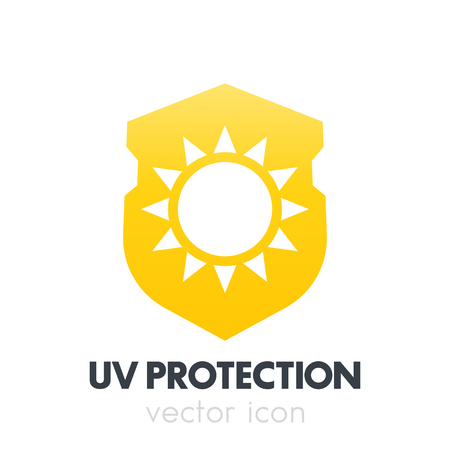 sun block: UV protection, sun on shield icon, symbol on white
