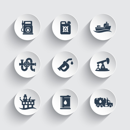 deep drilling: Petroleum industry icons set, gas station, petrol canister, gasoline nozzle, oil production platform vector pictograms
