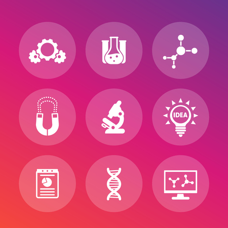 mobile apps: Science, laboratory study set, research, microscope, dna chain, lab glass, molecule, magnet, gears, vector illustration