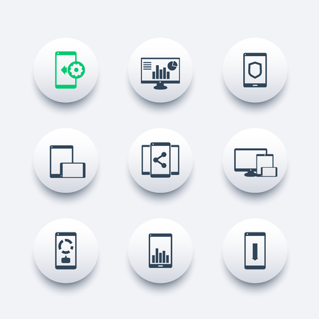 rhombic: mobile, desktop apps icons set, vector pictograms with smartphones and tablets