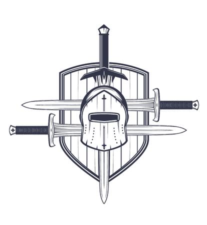 medieval helmet, swords and shield, vector elements for emblem Illustration