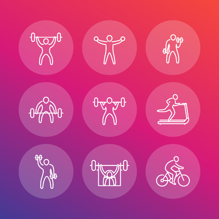 Gym, fitness exercises line icons, fitness training pictograms set