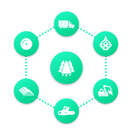 Logging icons, forest harvester, lumberjack, forestry, wood, lumber, timber industry infographic elements Illustration
