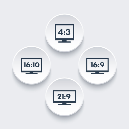 Aspect ratio icons, 16:9, 16:10, 4:3, 21:9, widescreen and standard monitors, tv signs Illustration