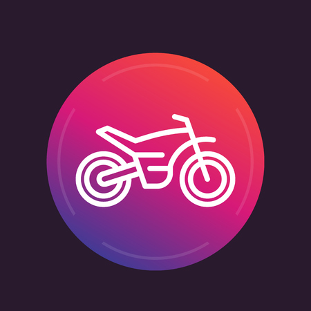 offroad bike, motorcycle icon in linear style, motocross symbol, vector illustration