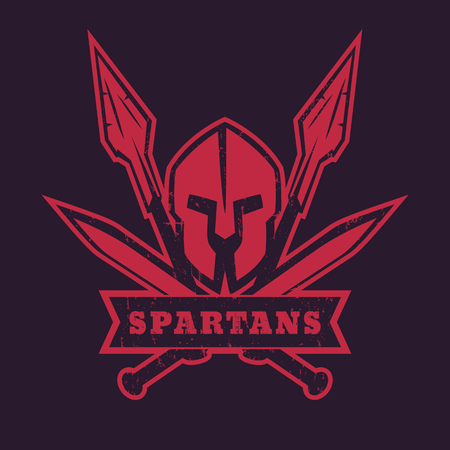 Spartans, logo, badge, emblem with spartan helmet, crossed swords and two spears, vector illustration Illustration