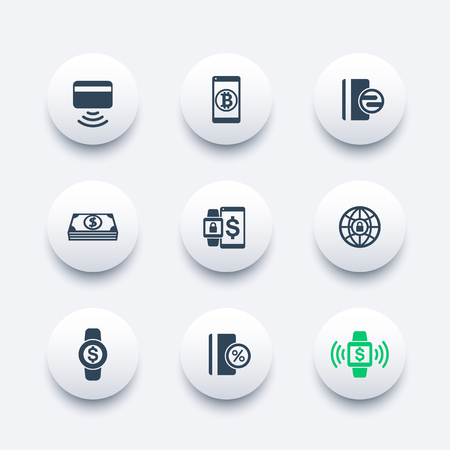 wirelessly: modern payment methods vector icons
