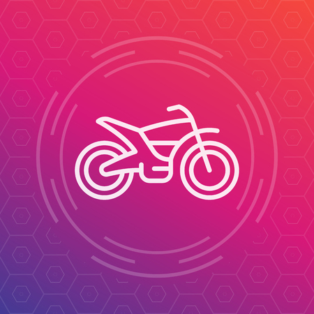 supercross: offroad bike, motorcycle linear icon, vector pictogram
