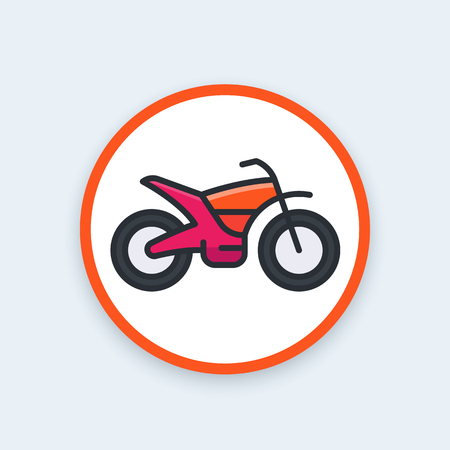 offroad bike, motorcycle vector icon, flat style with outline Illustration