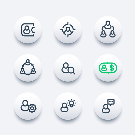 Management, human resources, HR, line icons set