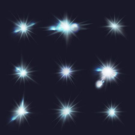 moonshine: flares, blue flashes, vector light effects Illustration