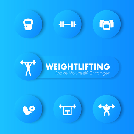 Weightlifting training icons set, vector pictograms