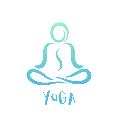 yoga class logo template on white, man in lotus position