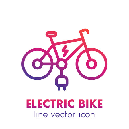 Electric bike line icon isolated over white Illustration