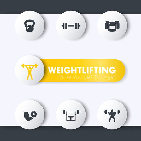 bicep curls: Weightlifting training icons set, round pictograms