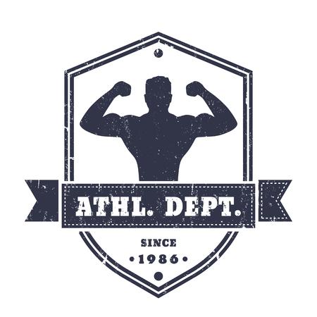 Fitness Gym Vintage Logo Badge Emblem With Posing Athlete On Shield Shape