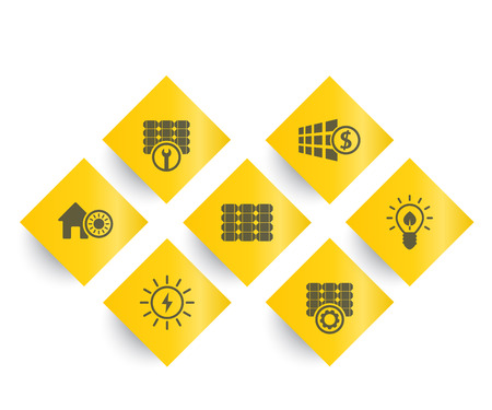 Solar energy, panels, alternative energetics and renewable energy use, rhombic icons set