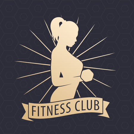 bicep curls: Fitness Club logo, emblem with posing athletic girl with dumbbell, gold on dark Illustration