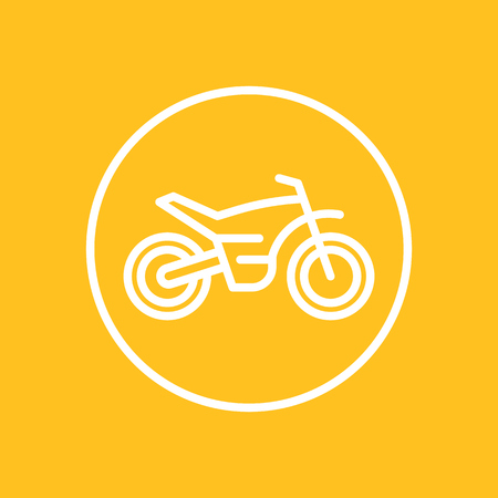 offroad bike, motorcycle line icon in circle, motocross symbol