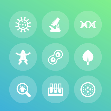 bacteria cell: Biology icons set, cell division, microscope, test-tubes, virus, microbe, microorganism pictograms, vector illustration
