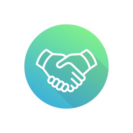 handshake line icon, deal, partnership symbol, vector illustration