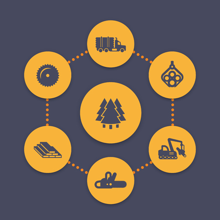logging: Logging icons set, forest harvester, lorry, forestry, wood, lumber, timber industry, vector illustration Illustration