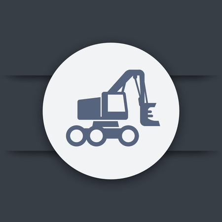 logging: Forest harvester, wheeled feller buncher, timber harvesting machine icon