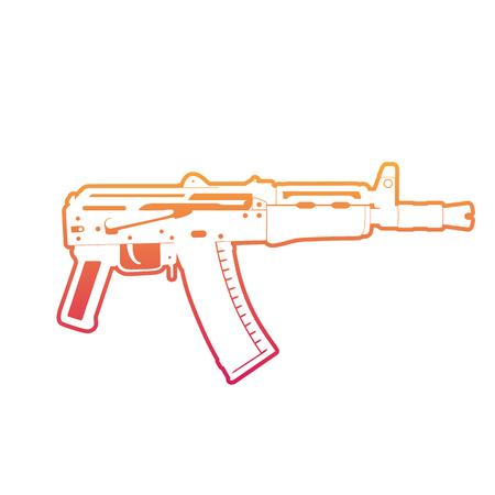 Soviet automatic carbine, shortened assault rifle, gun, outline over white Illustration