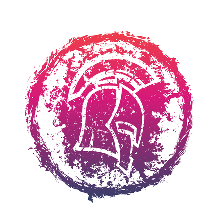 grunge spartan helmet, vector print for t-shirts, round sign