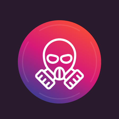 biohazard: gas mask line icon, vector pictogram