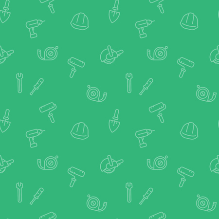 seamless pattern with construction tools and equipment icons in linear style, green background, vector illustration