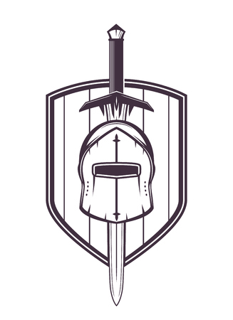 medieval helmet, sword and shield isolated on white, vector illustration