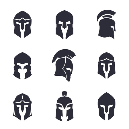 helmets set, spartan, greek and roman, ancient armor