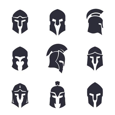 helmets set, spartan, greek and roman, ancient armor