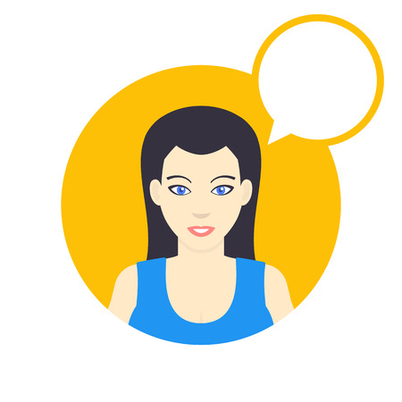 longhaired: flat style female character with empty speech bubble, smiling girl in blue shirt