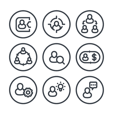 Management, human resources, HR, line icons in circles over white Illustration