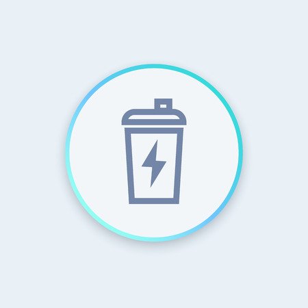 circular muscle: Sport shaker icon in linear style, vector illustration
