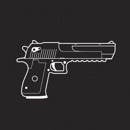 pistol outline, powerful gun, handgun