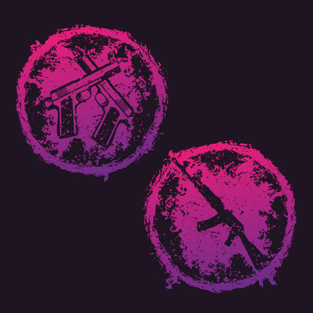 gun control: grunge round emblems, t-shirt prints with crossed pistols and assault rifle over dark, vector illustration Illustration