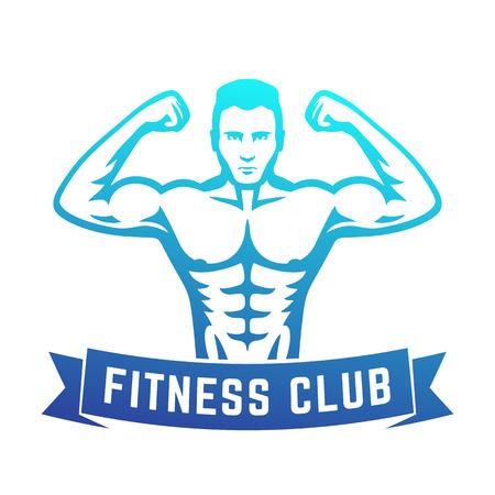 bicep curls: Posing athlete, strong muscular bodybuilder showing his biceps, fitness club logo, emblem, vector illustration Illustration