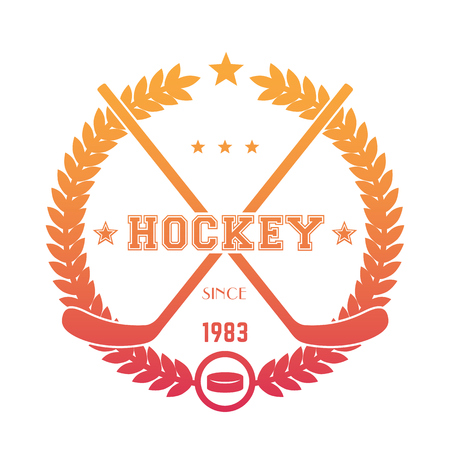 Hockey emblem, logo with crossed sticks and puck over white