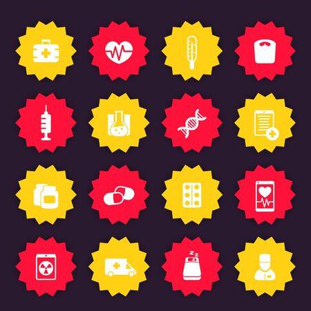 medicine icons, vector badges, health care, hospital, medicaments, pills Illustration