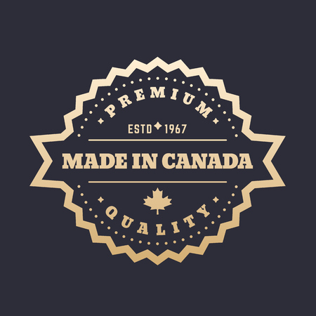 quality guarantee: Made in Canada badge, gold label Illustration