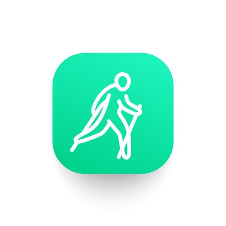 nordic walking-pictogram in lineaire stijl