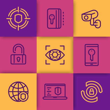 ddos: Security and protection line icons set, secure network, key card, privacy, biometric recognition, retina sca, cctv camera, firewall Illustration